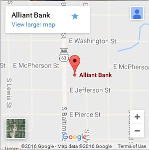 Contact Us - Alliant Bank on oak grove map, carthage map, webb city map, london map, branson west map, southwest city map, saint joseph map, rapid city map, springfield il map, fair grove map, sioux city map, willow springs map, adair county map, dunklin county map, western il map, earth city map, van buren park map, belton map, santa ana map, lees summit map,